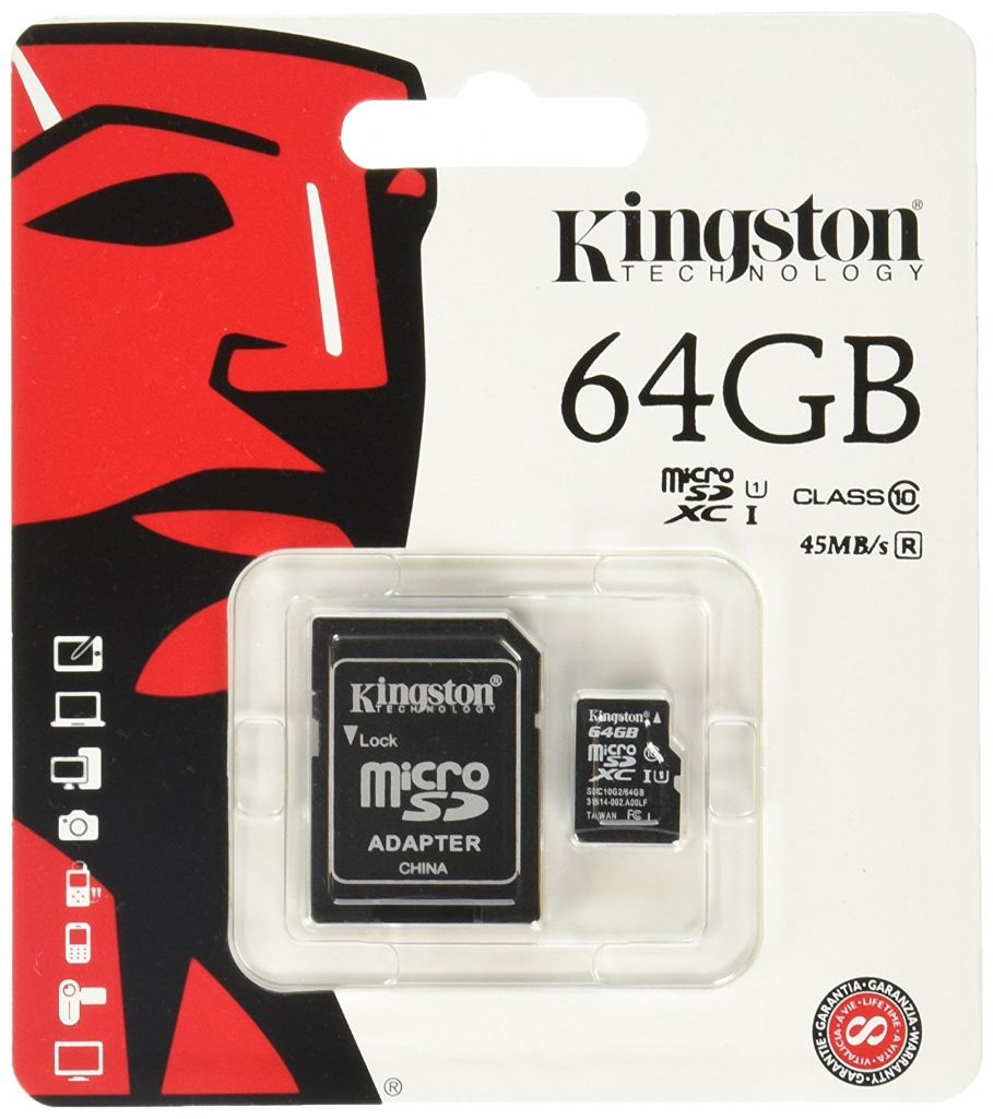 Micro Secure Digital 64GB Class 10 Kingston + SD Adaptor