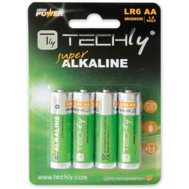 Batteria Alkalina Stilo AA 4pz High Power Techly