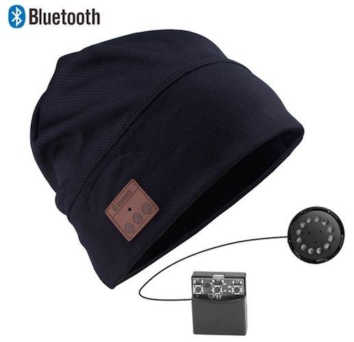 Acquista berretto hi-tech sportivo con cuffie stereo bluetooth black ... 919fa1c167de